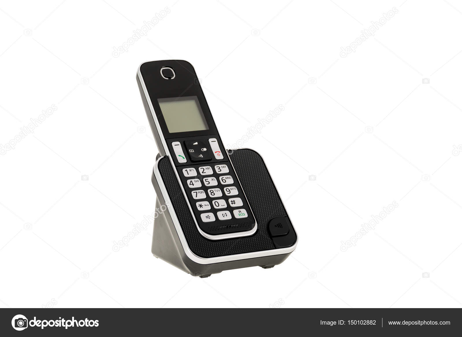 Modern Cordless Landline Dect Phone With Charging Station Isolated On White  With Clipping Path U2014 Stock