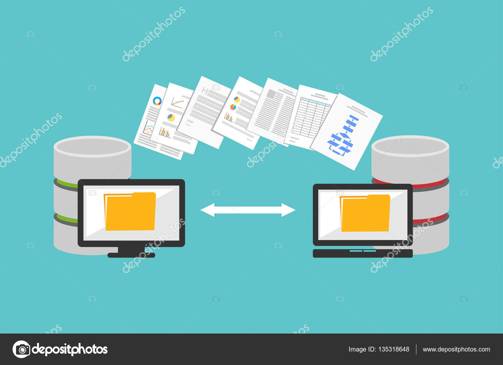Transfer files. Sharing files. Communication between two computers. — Stock  Vector © pratyaksa #135318648