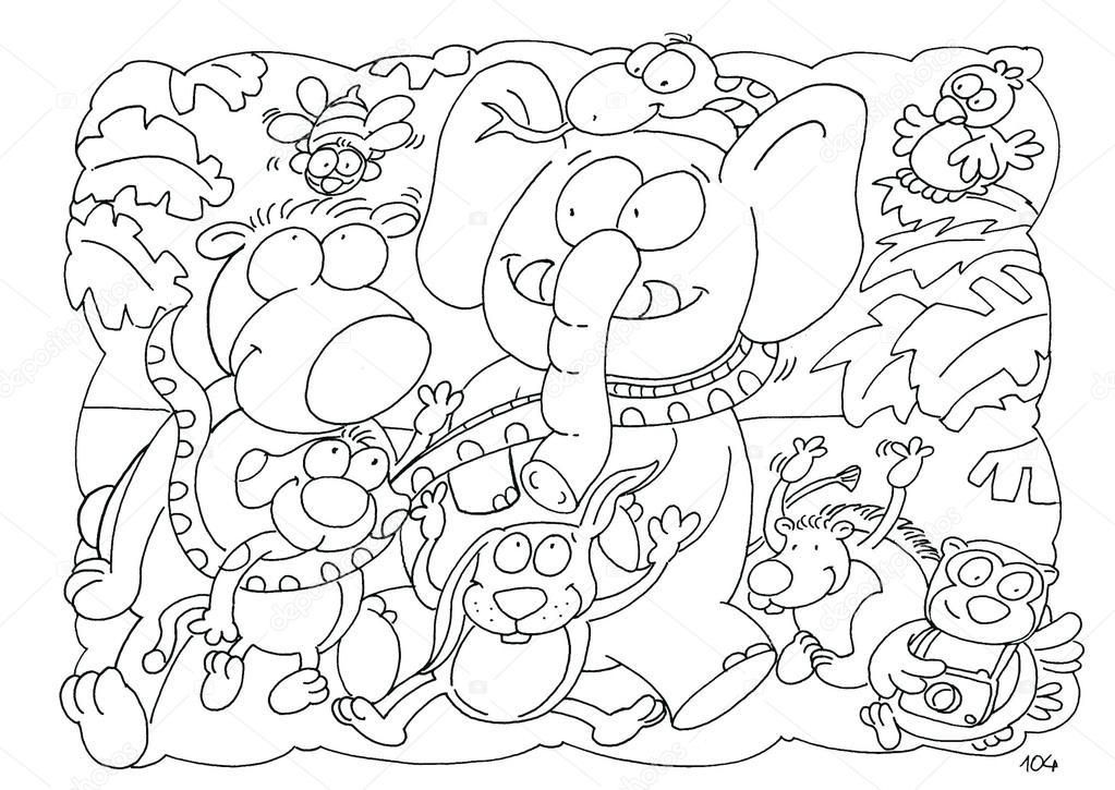 Dibujos para colorear de un elefante con amigos — Fotos de Stock ...