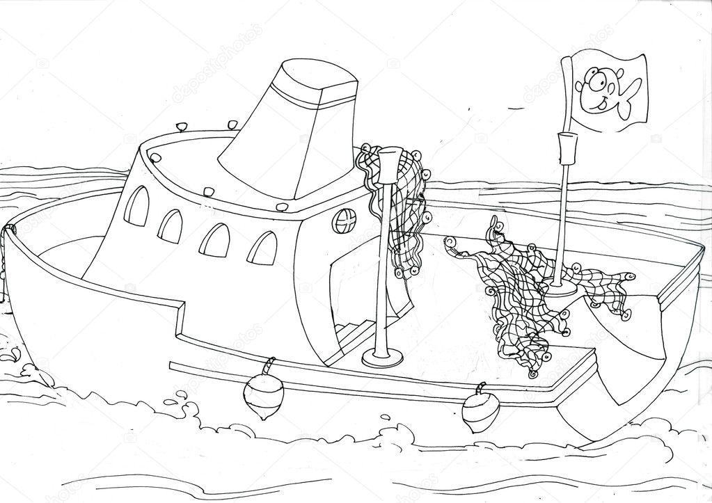 Dibujos de la sección de para colorear de un barco de pesca — Foto ...