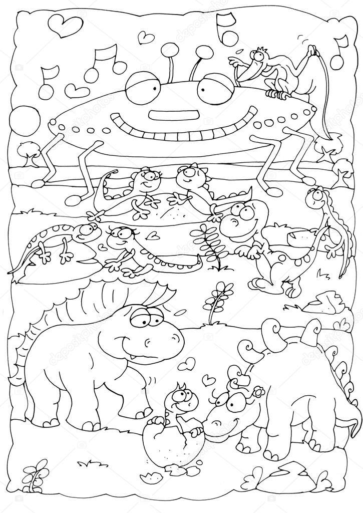 Dibujar una línea para un OVNI con los dinosaurios de color — Foto ...