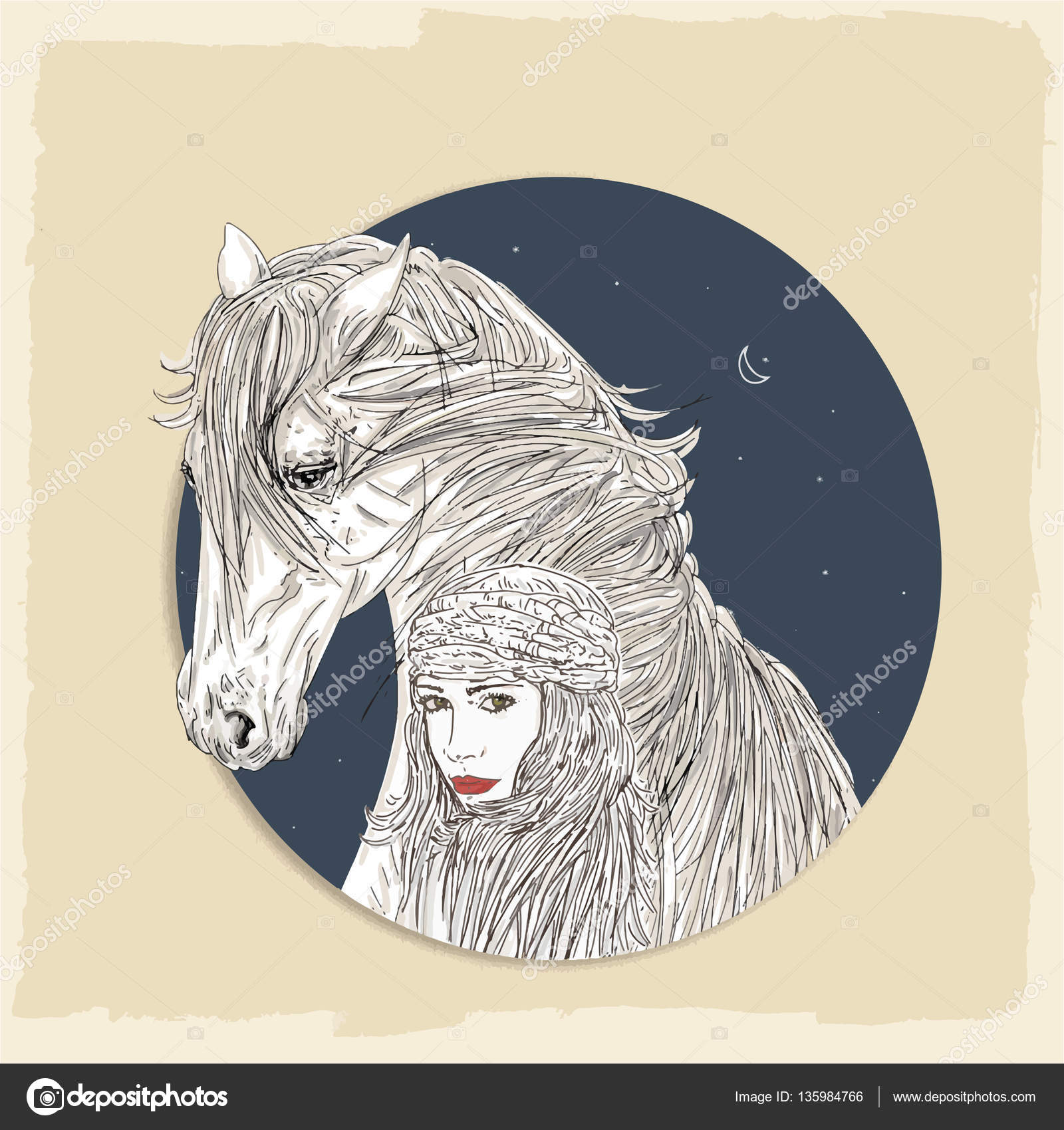 La mujer o el caballo con fondo nocturno — Foto de stock ...