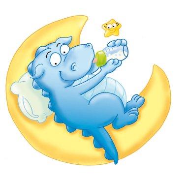 il piccolo drago beve il biberon sulla luna