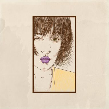 Face of a girl lacing a kiss, Mouth detail with purple lipstick