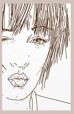 face of a girl lacing a kiss, mouth detail with purple lipstick and green eyes