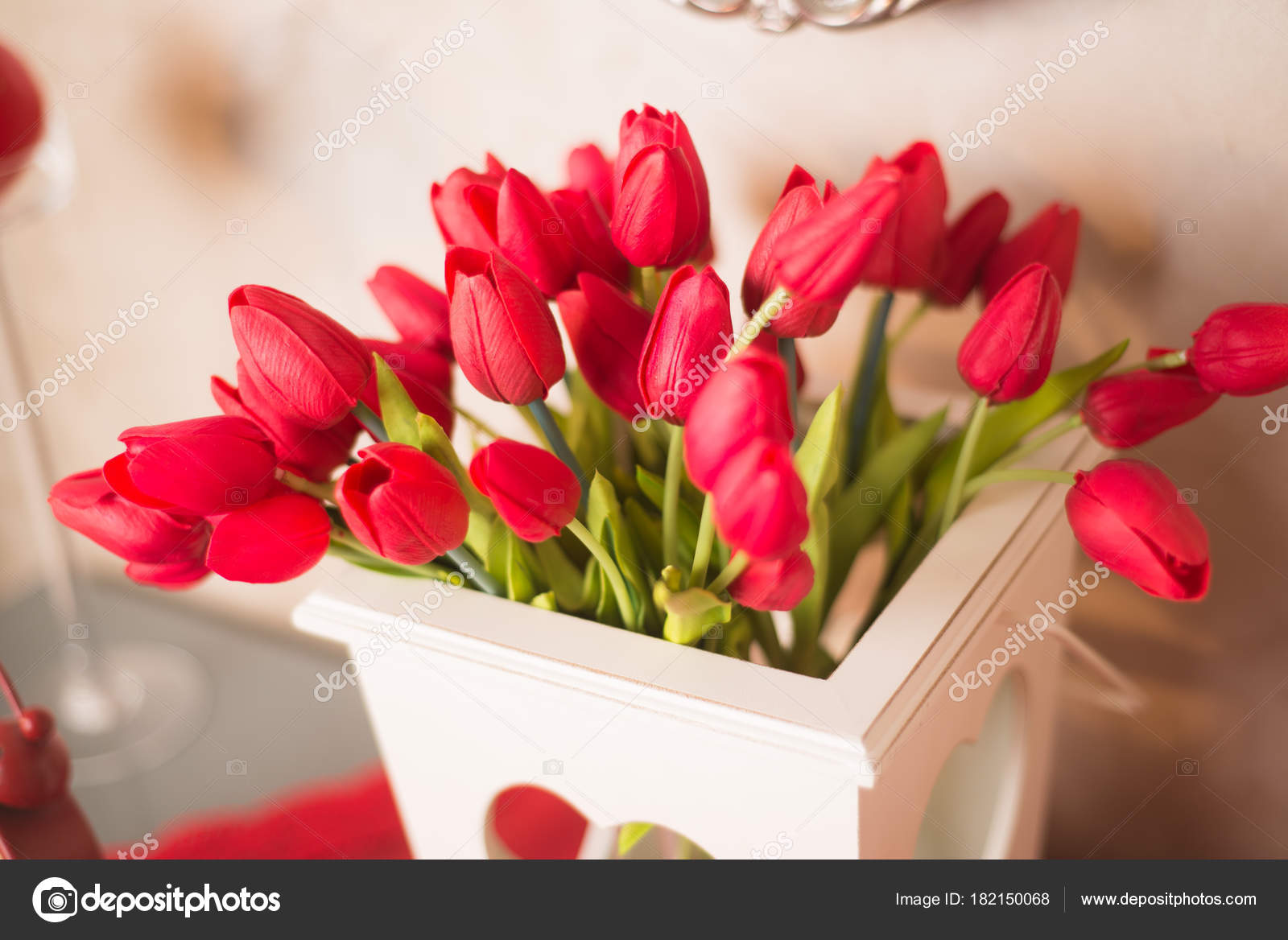 Bouquet Tulipani Rossi Giorno Degli Innamorati Marzo Mazzo Fiori