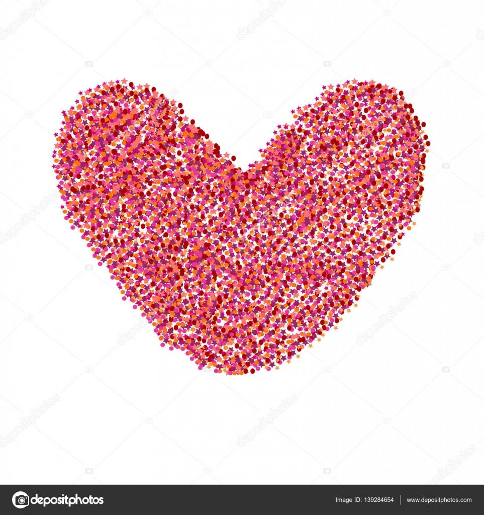 Red glitter valentine day heart shape. Vector background for wedding ...