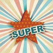 Super hvězda štítek na paprsky pozadí, retro pozadí