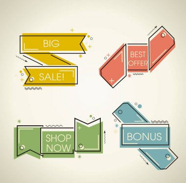 Set of flat labels. Paper tags, promotion ribbons, banners or di