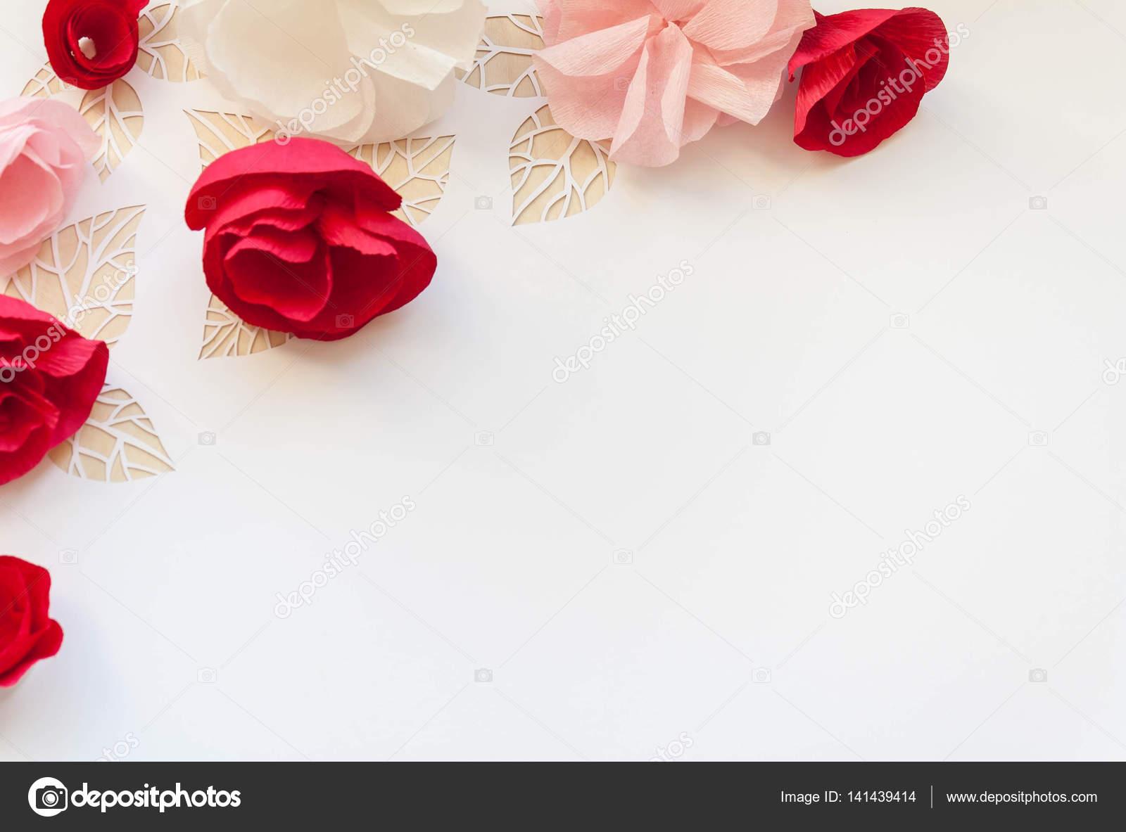 Hello Spring Red Paper Flowers Stock Photo Masalskaya 141439414