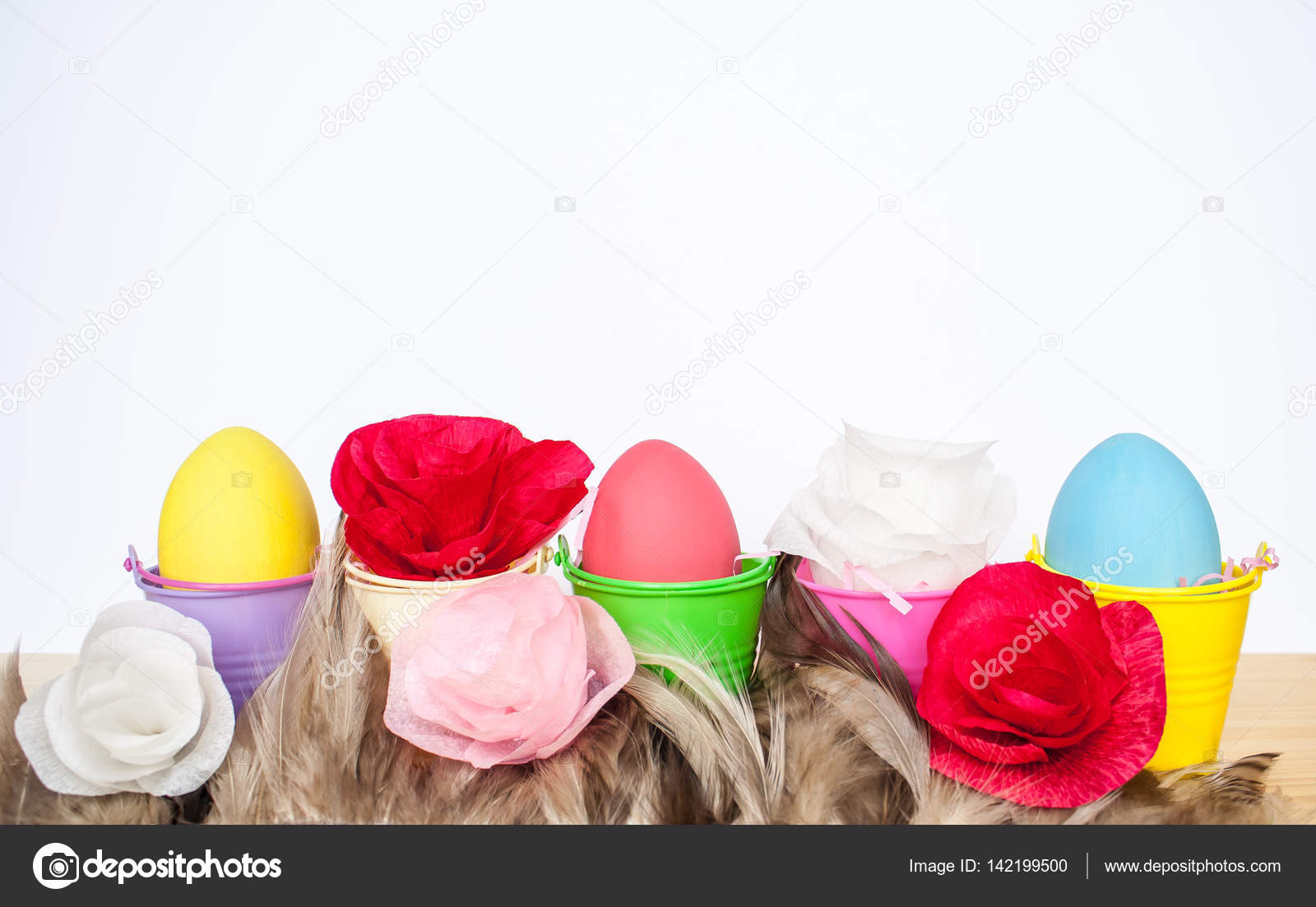 Happy Easter And Paper Flowers Stock Photo Masalskaya 142199500