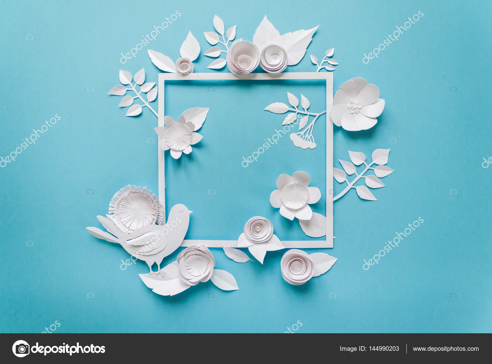 Square frame with white paper flowers flat lay nature concept square frame with white paper flowers flat lay nature concept stock photo mightylinksfo