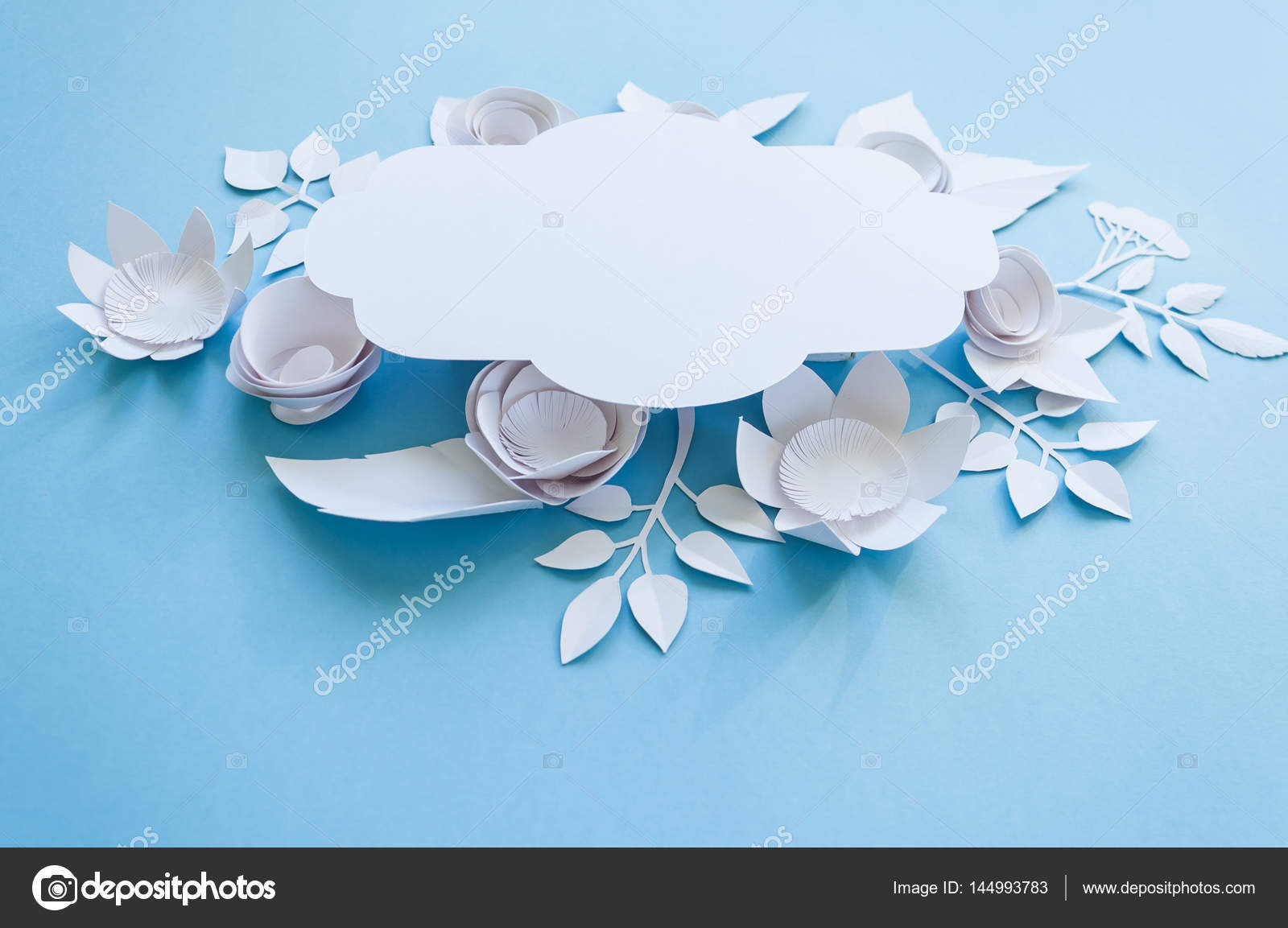 Vintage Frame With Paper Flowers On The Blue Background Stock