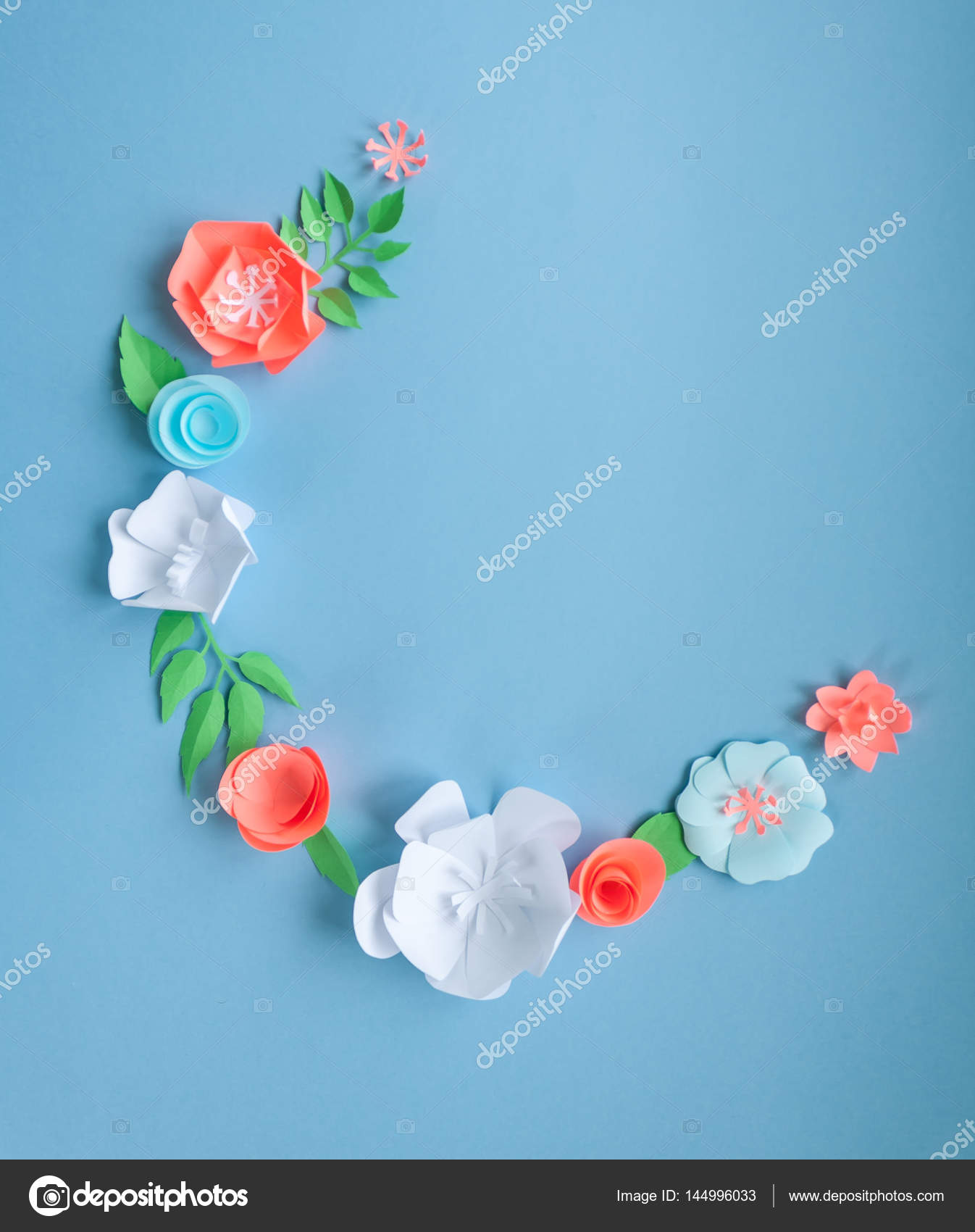 Semicircle Frame With Color Paper Flowers On The Blue Background