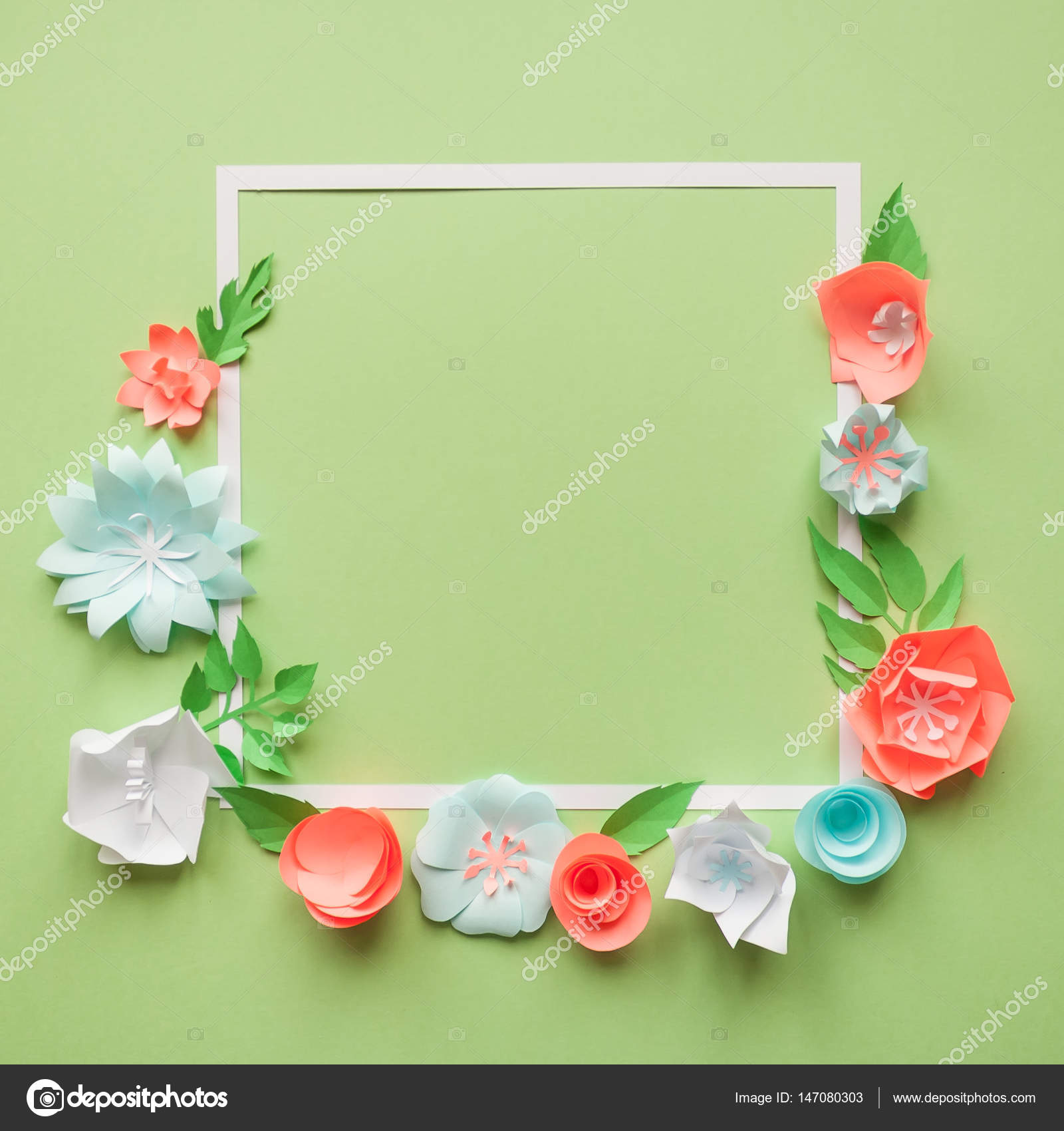 Square Frame With Color Paper Flowers On The Green Background Flat