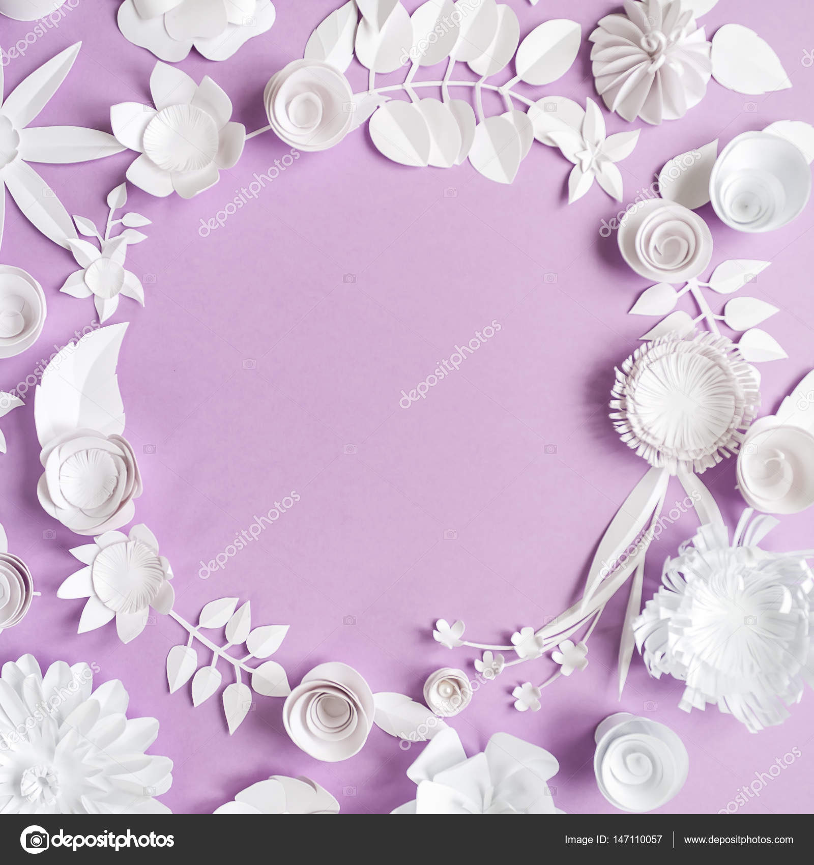 Round Frame With Paper Flowers On The Purple Background Stock