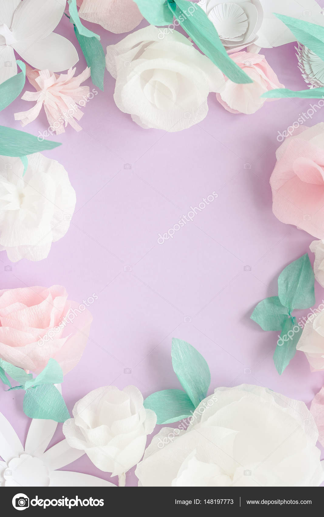 Flowers Paper Origami Decoration Background For Modern Backdrop