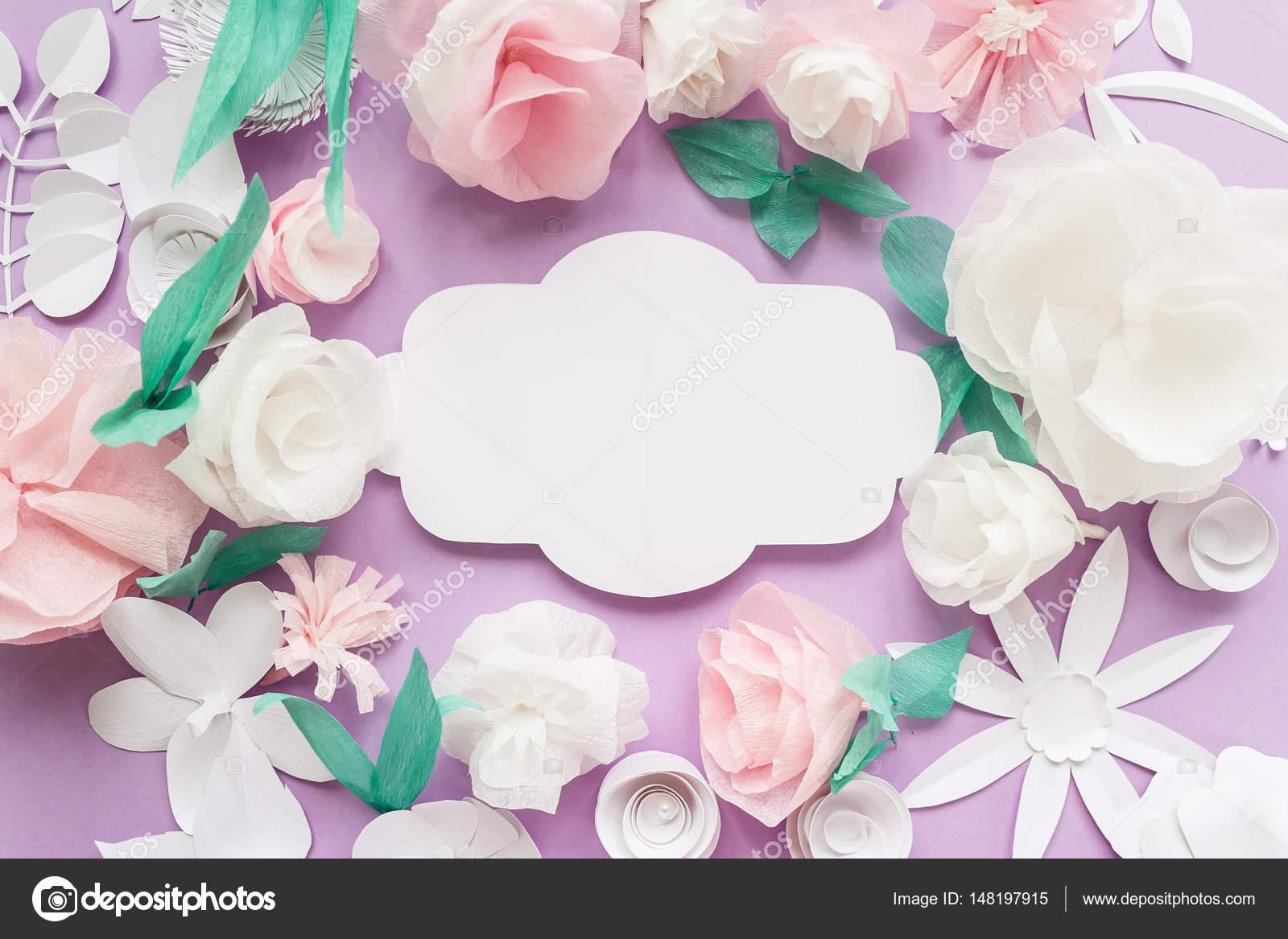 Vintage frame. Bloemen papieren origami decoratie achtergrond voor ...