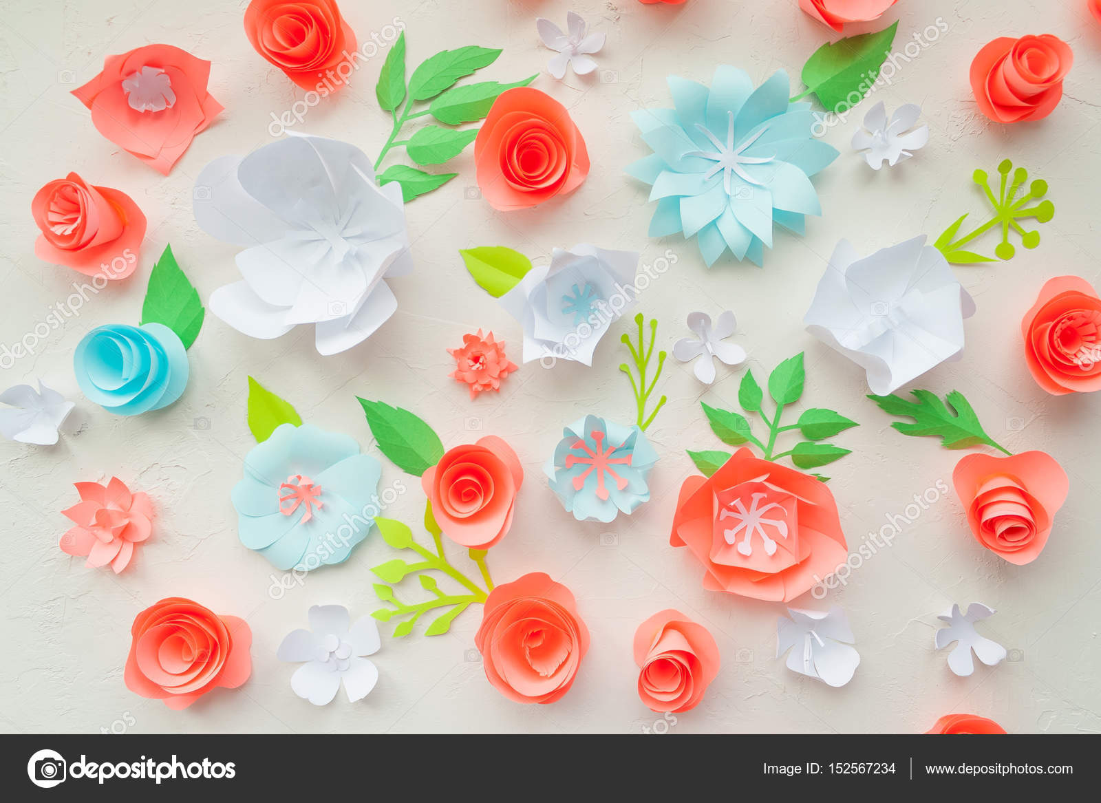Color Paper Flowers On The White Stucco Flat Lay Nature Concept