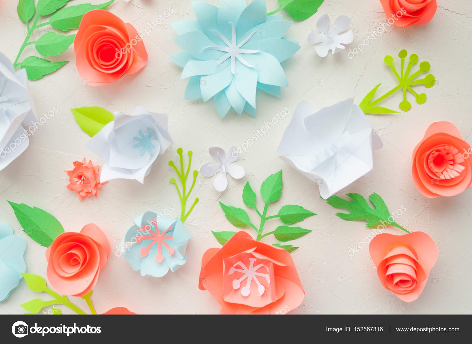 Color paper flowers on the white stucco flat lay nature concept color paper flowers on the white stucco flat lay nature concept stock photo mightylinksfo