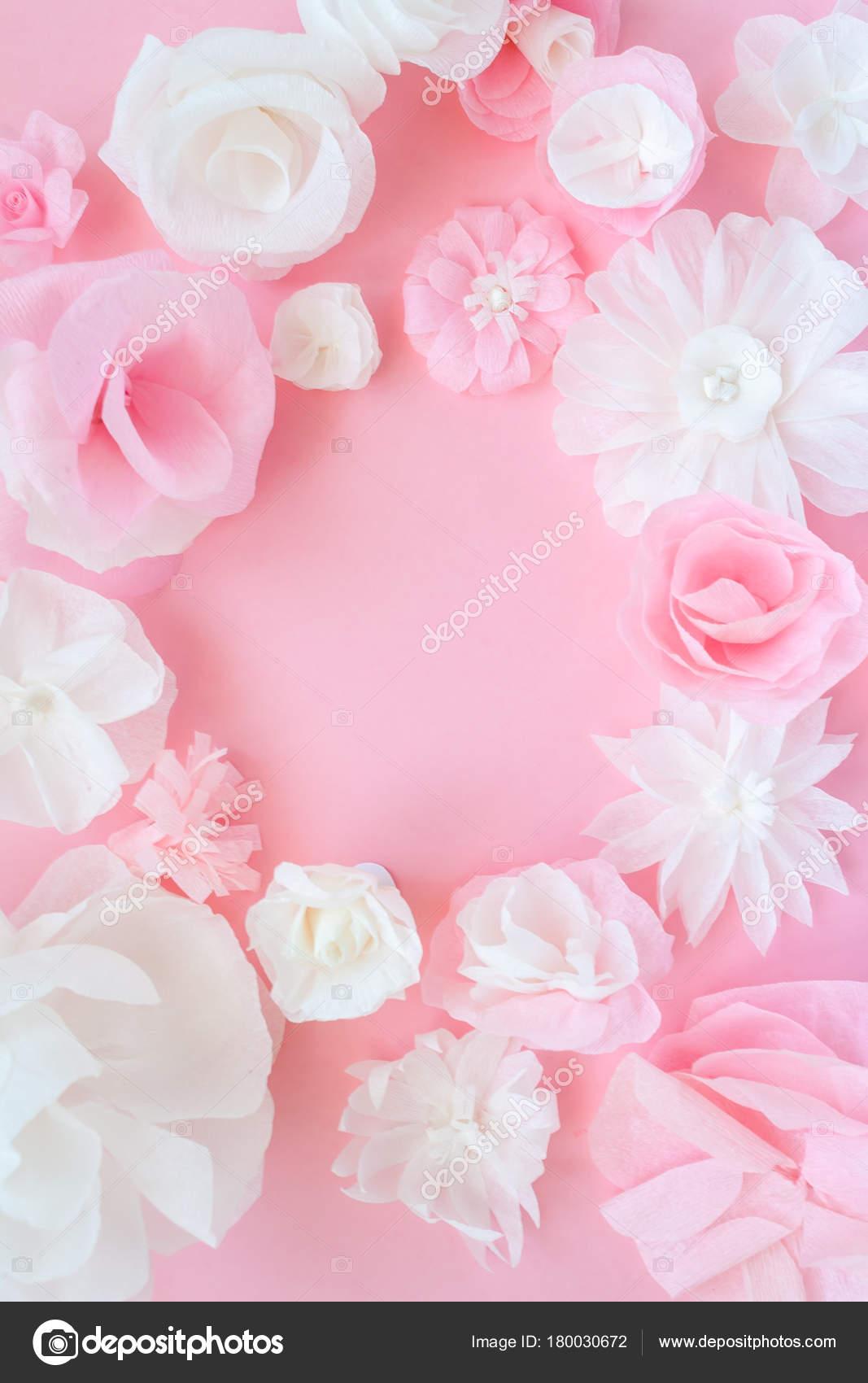 Round Frame With Paper Flowers Stock Photo Masalskaya 180030672