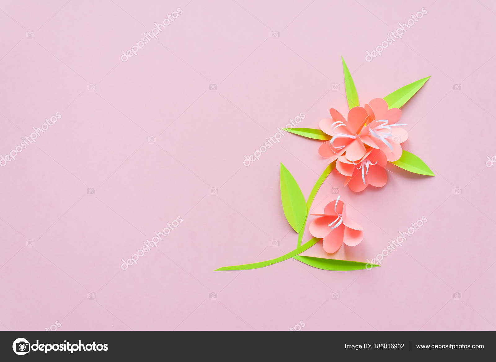 Frame With Color Paper Flowers On The Pink Background Flat Lay