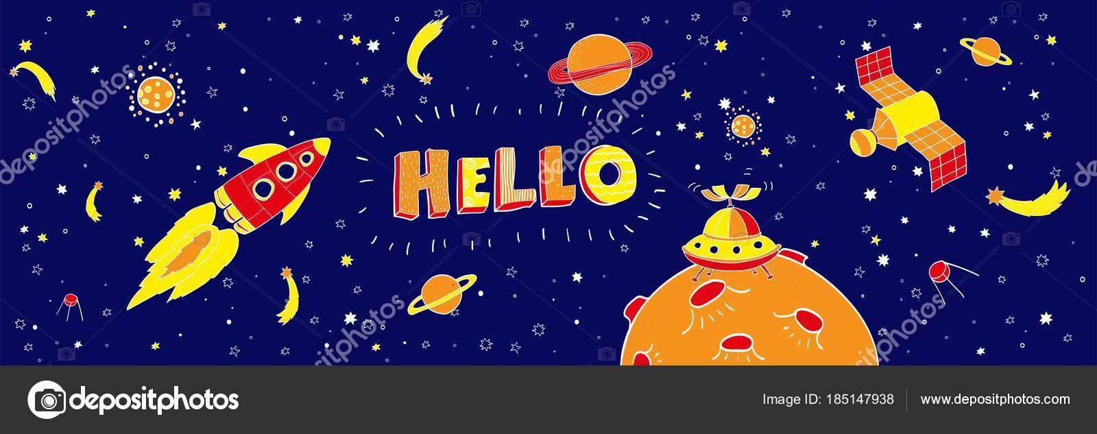 Kinderzimmer-Poster mit Hand gezeichneten Buchstaben Hallo ...