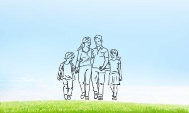 Hand drawn happy family
