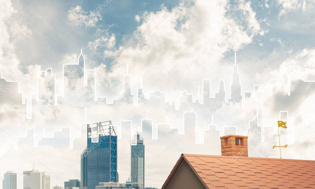 Brick house roof and modern cityscape
