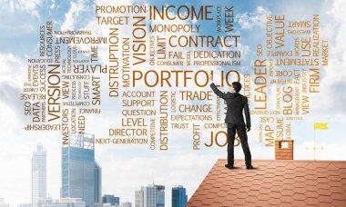 Businessman writing success conceptual words