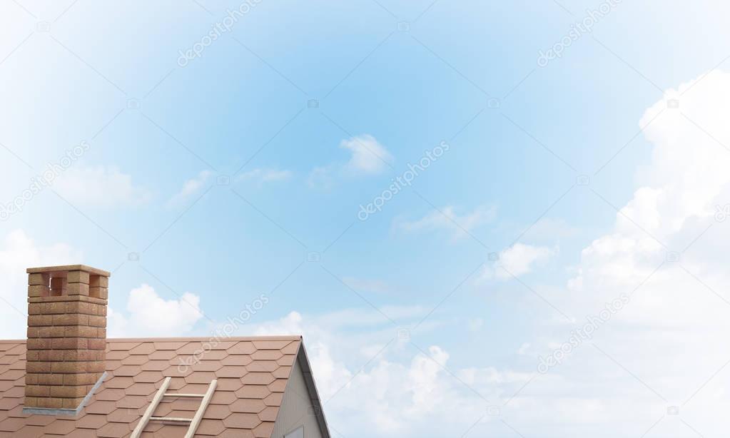 Brown brick roof .