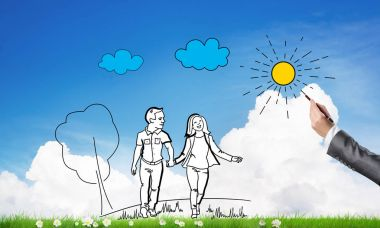 Hand drawning happy family