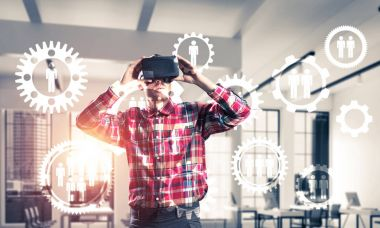 Young man with virtual reality headset