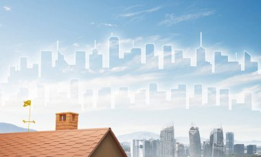 """Картина, постер, плакат, фотообои """"Кирпичный дом крыши и современный городской пейзаж """", артикул 159038666"""