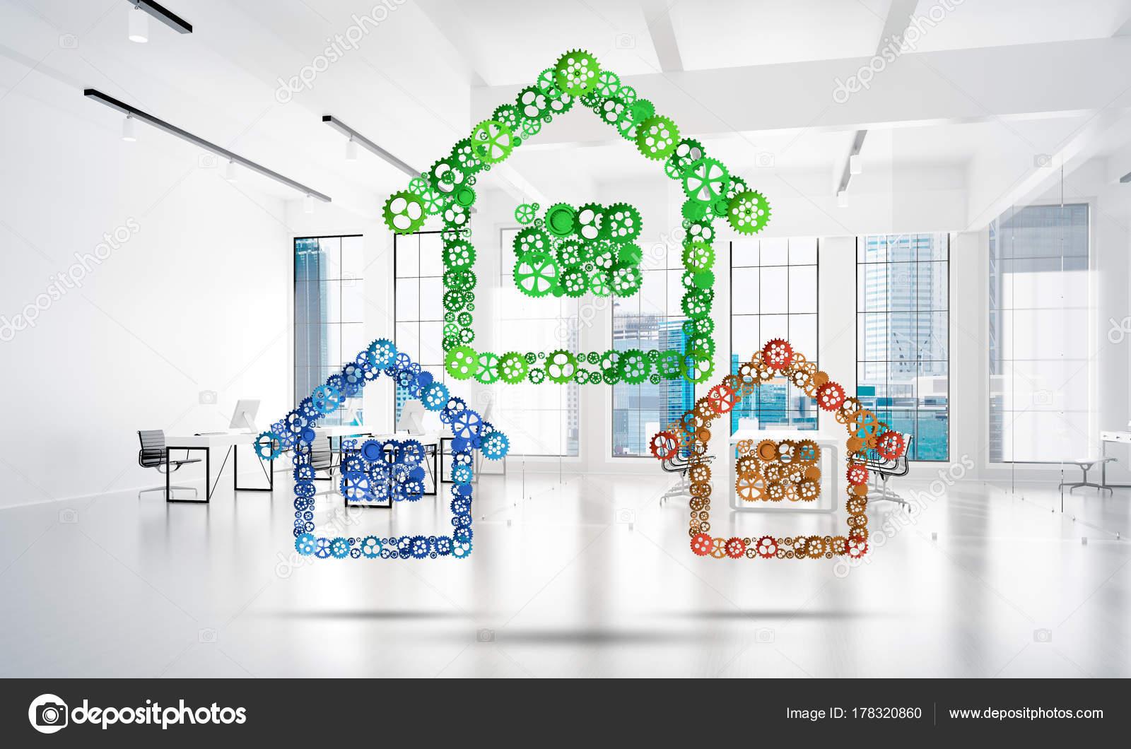 Ufficio Casa Immobiliare : Segni casa collegato ingranaggi sfondo bianco ufficio immobiliare