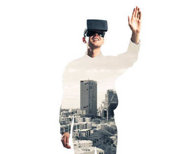 Young man with virtual reality headset or 3d glasses over cityscape background, double exposure