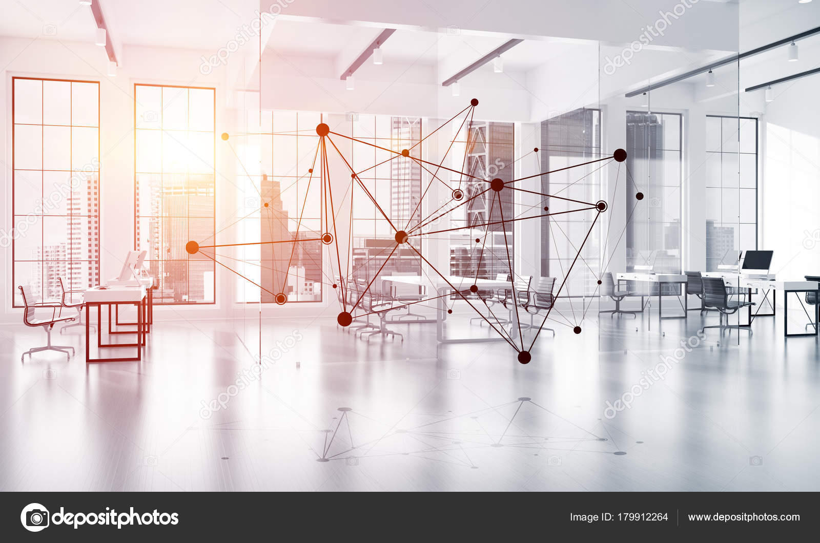 Lines Connected Dots Modern Office Blurred Background Concept