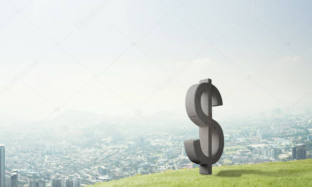 Stone dollar symbol outdoors on green hill, Money making and wealth concept