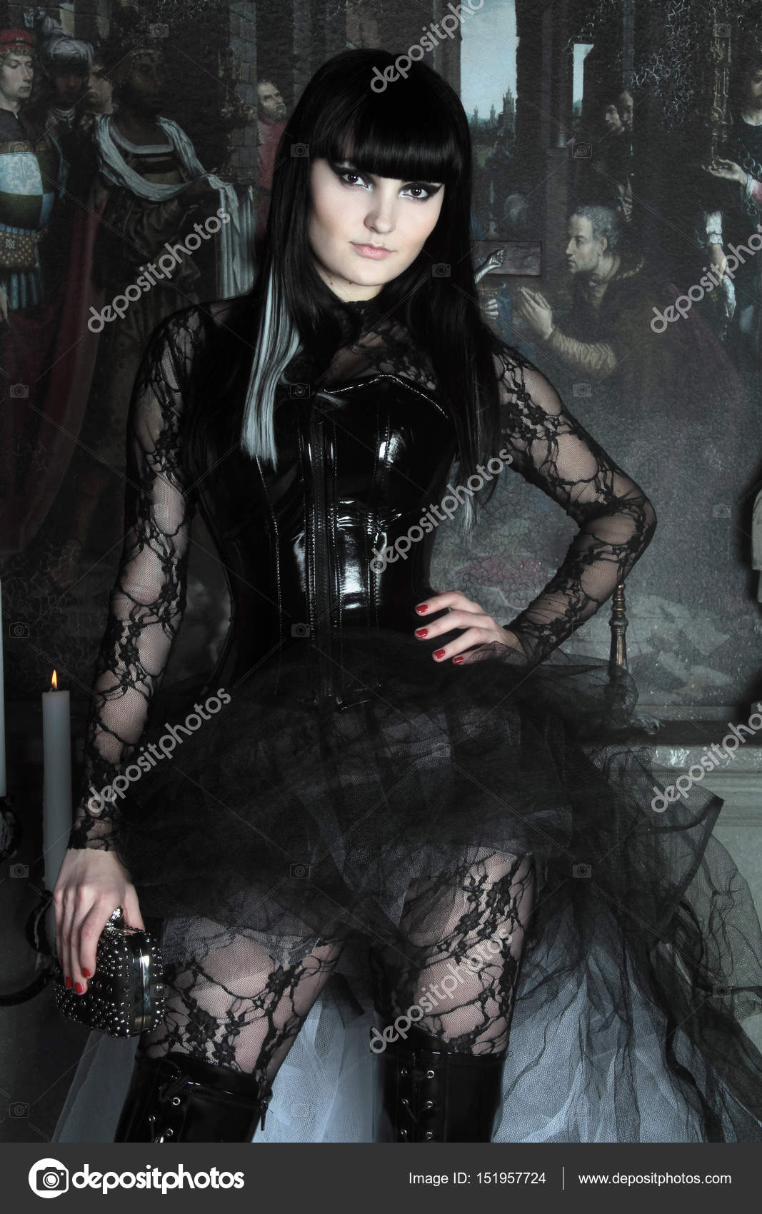 Variants are Young gothic girl bottle
