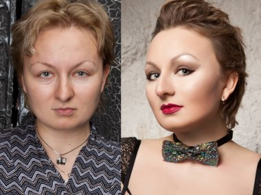 before and after make up woman