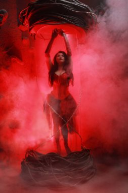 beautiful plus size woman wearing red corset