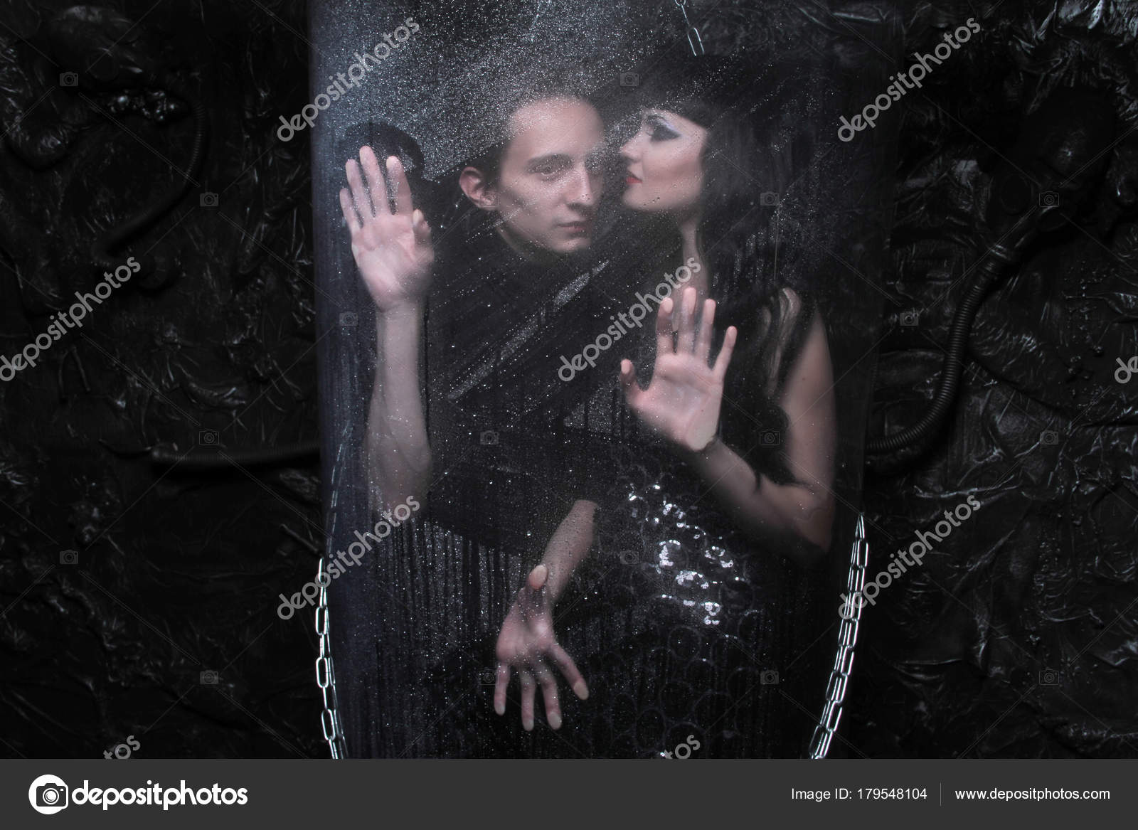 Beautiful Slim Gothic Girl Witch And Her Boyfriend The Sorcerer Posing As Love Goth Couple On Dark Background Photo By Agnadevi