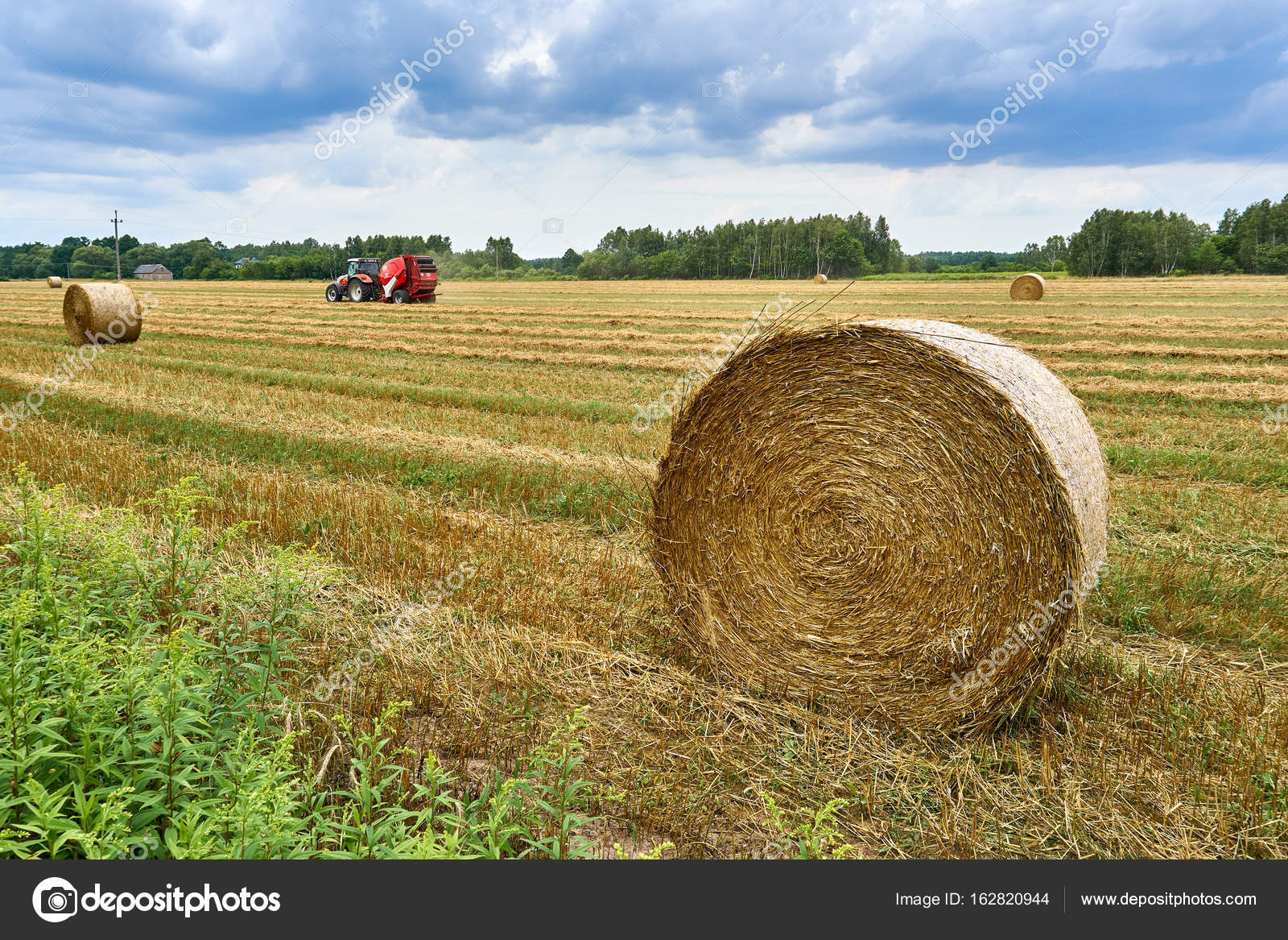 Biale, Poland - August 04, 2017: The tractor is working on the field