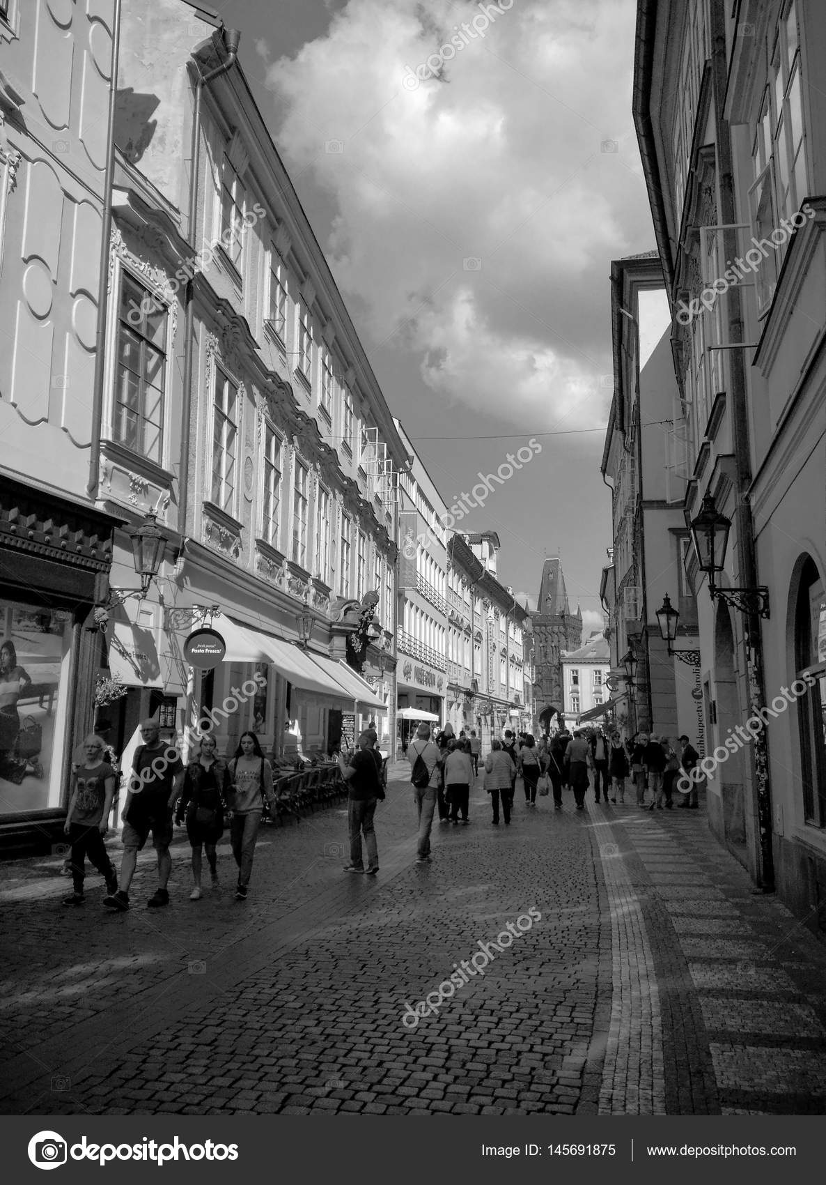 People Walking On Street Of Old City Stock Editorial Photo