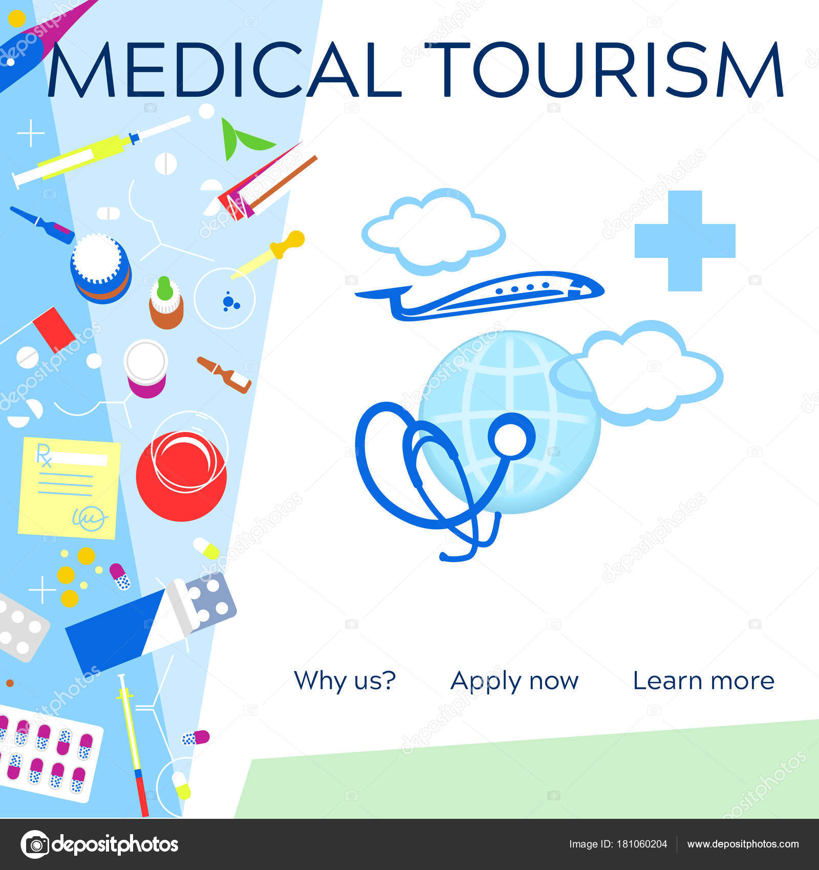 Medical Tourism Concept Symbol Background Medical Stethoscope O