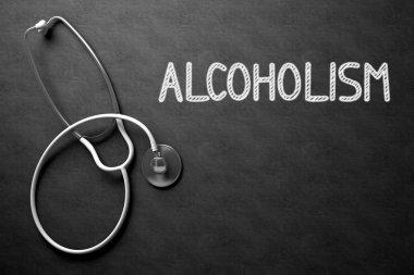 Alcoholism on Chalkboard. 3D Illustration.
