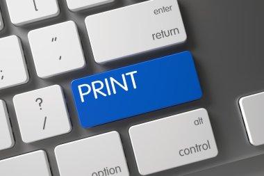 Print CloseUp of Keyboard. 3D.