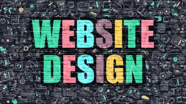 Website Design in Multicolor. Doodle Design.