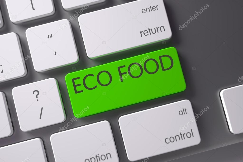 Eco Food CloseUp of Keyboard. 3D.