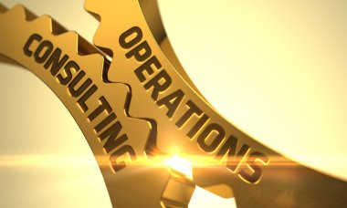 Operations Consulting Concept. Golden Cog Gears. 3D.
